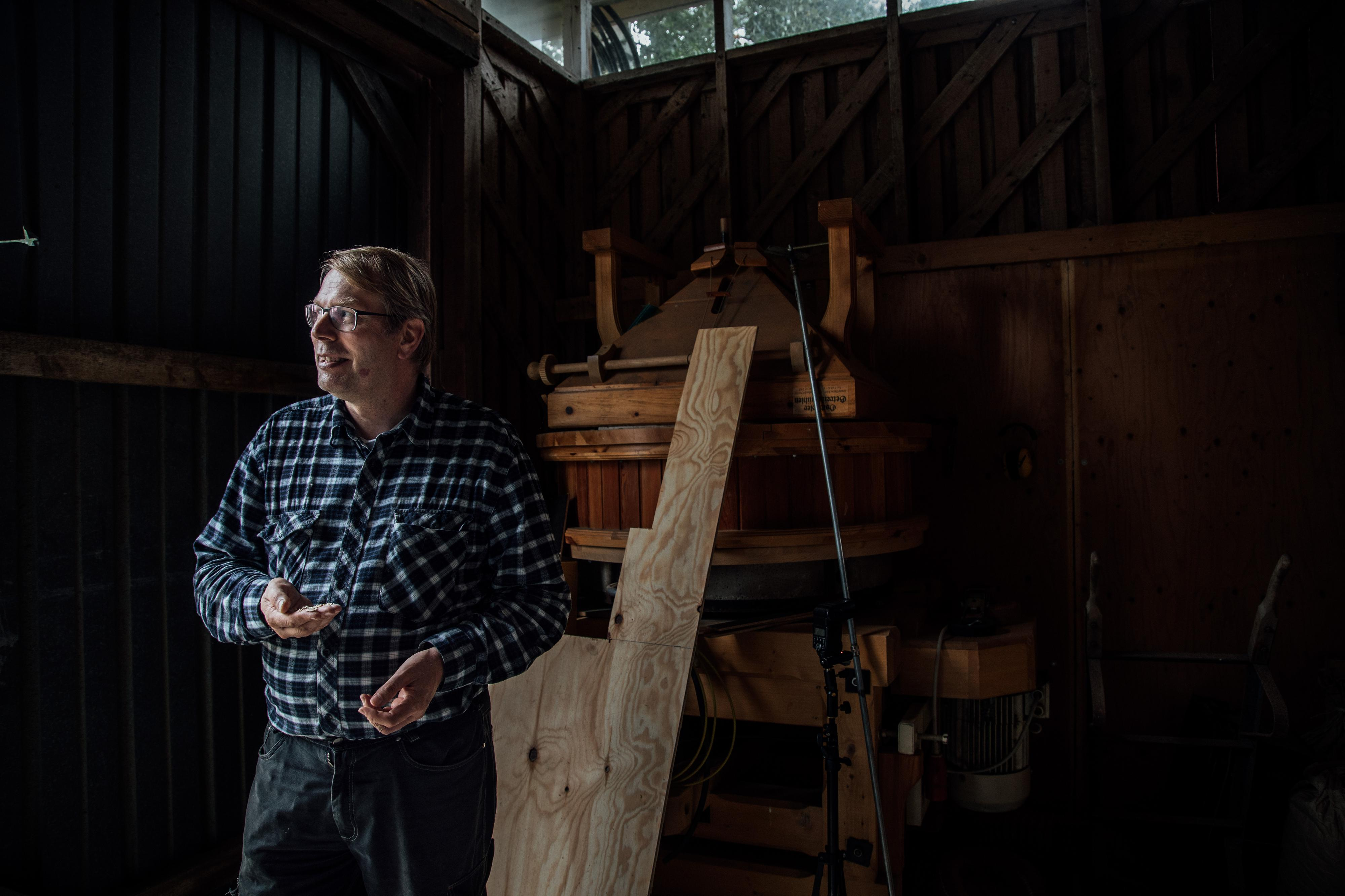 The oat is produced using a wooden mill, Eerola explains.